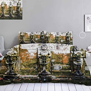 """Aishare Store Balinese Duvet Cover Set,Fountain in Ancient Bali Tropics Landmark Travel Destinations Photo,Decorative 3 Piece Bedding Set with 2 Pillow Shams,Full Size(80""""x90"""") Green White"""