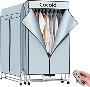 COCOLD Portable Clothes Dryer Rack for Laundry 1000W-44 LBS High Capacity Energy Saving Folding Dryer Quick Dry with Remote Control and Digital Timer