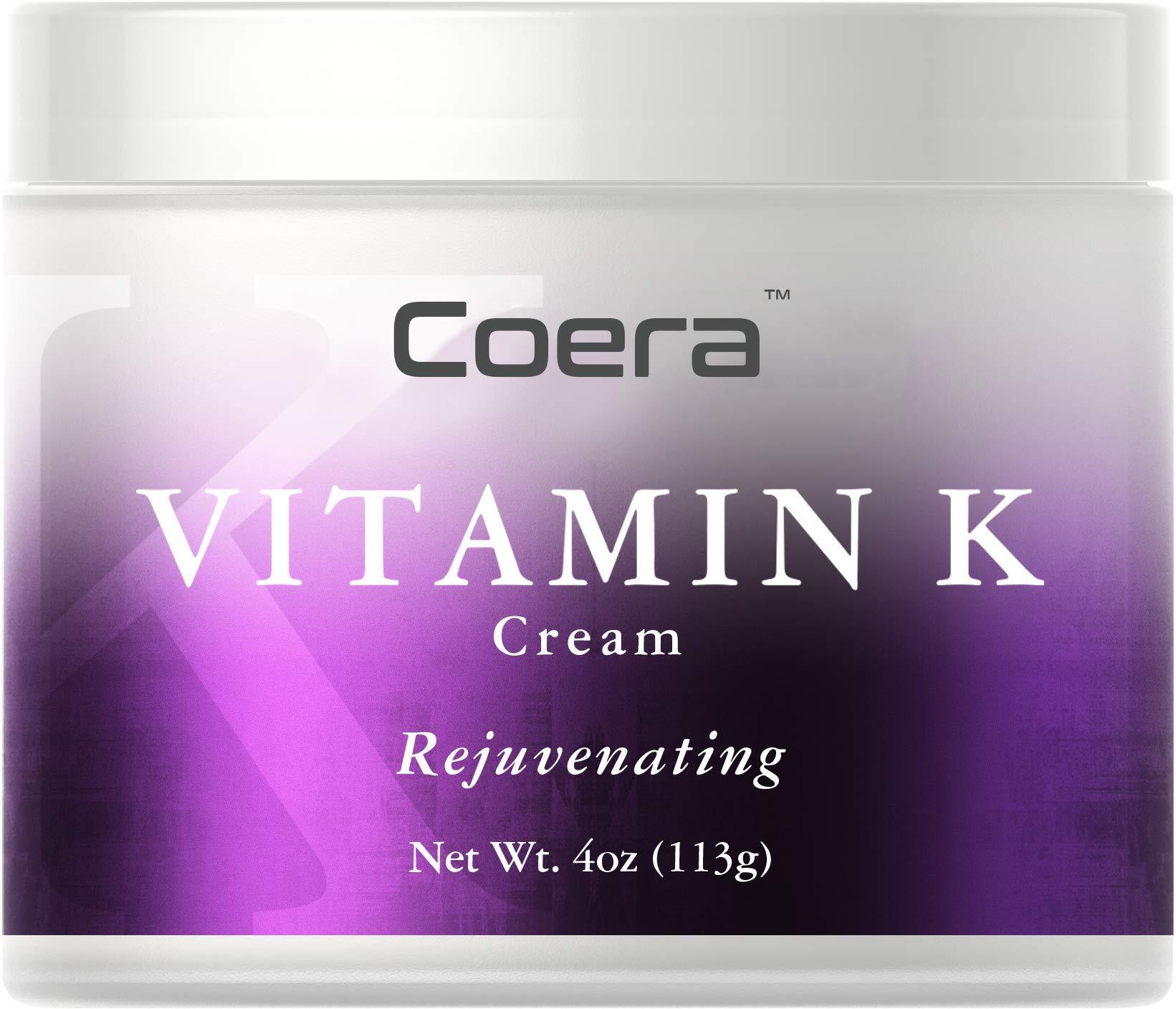 Vitamin K Cream 4 oz   Premium Formula for Bruises, Spider Veins, Dark Circles, Broken Capillaries, Eyes, and Face   Paraben and SLS Free   by Coera