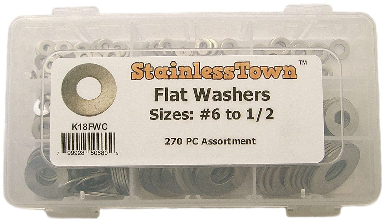 Stainlesstown K18FWC Stainless Steel Flat Washer Assortment Kit