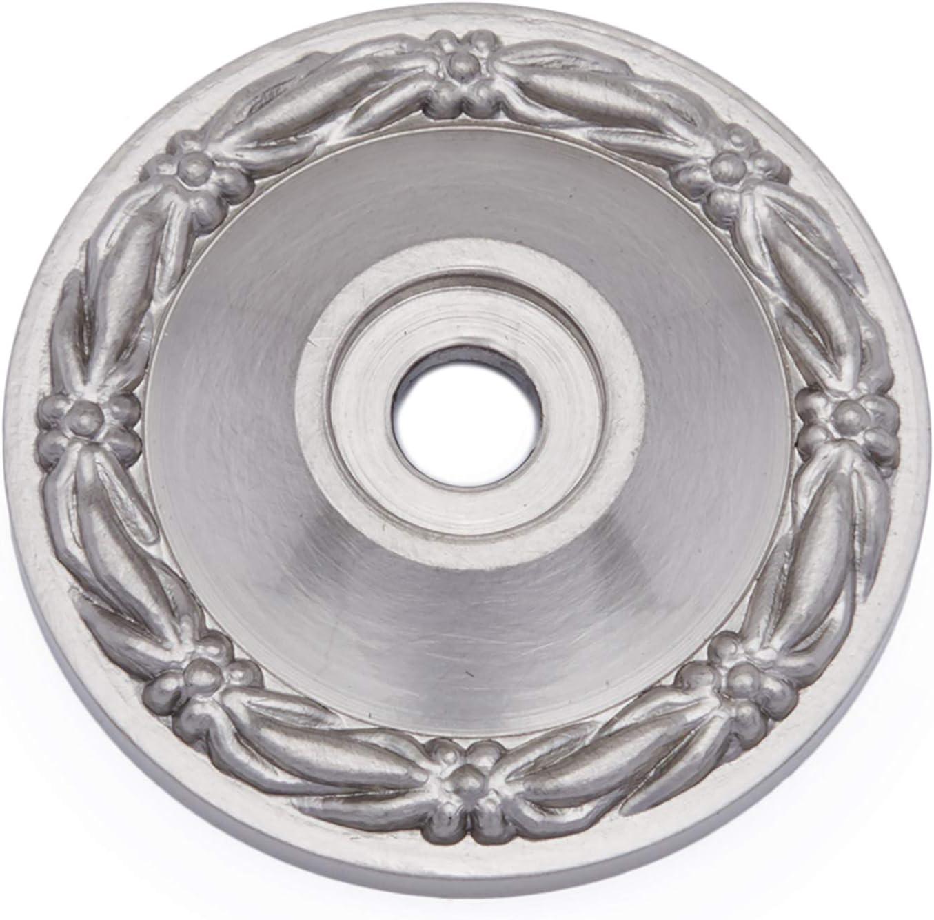 RK International RKI Satin Nickel (Pewter) R.K. International BP 489 P Flat Deco-Leaf Knob Backplate