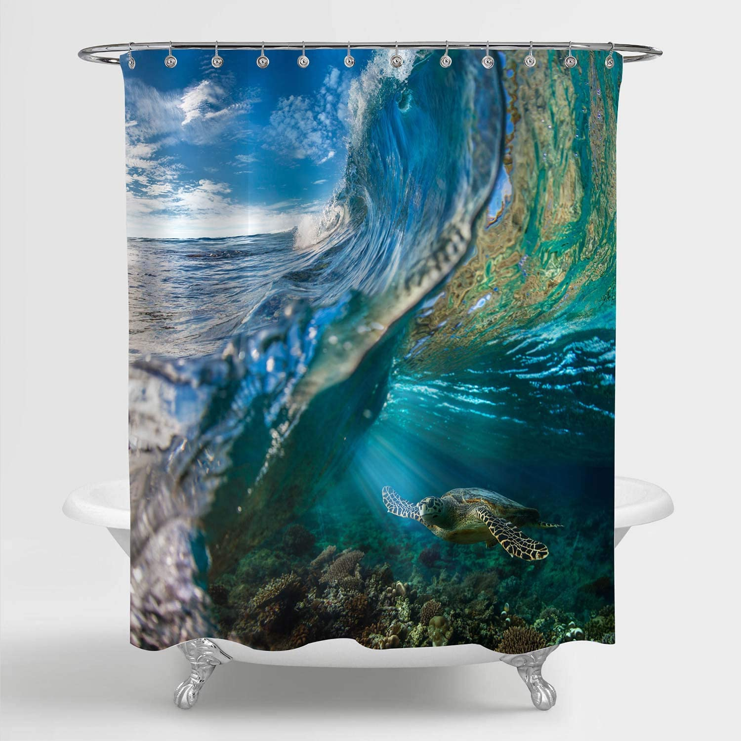 "MitoVilla Tropical Ocean Wave Scenic Shower Curtain, Sea Animal Turtle Floating Underwater Over The Coral Reef Bathroom Accessories for Summer Nature Themed Home, Grren, Blue, 72"" W x 78"" L Long"