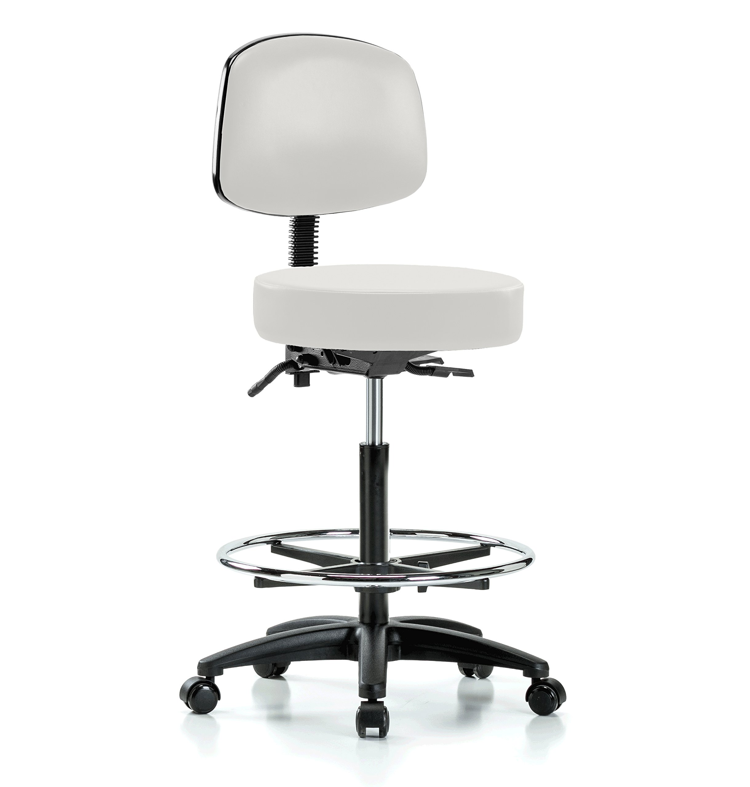 Perch Walter Rolling Doctor Stool with Footring and Adjustable Back Support for Medical Dental Salon Spa Office or Home 25'' - 35'' (Hard Floor Casters/Adobe White Vinyl)