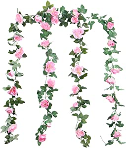 Foraineam 2PCS(16FT) Artificial Rose Vine Garland Silk Hanging Roses Fake Flowers String Artificial Plants Indoor Outdoor Decor (Pink)