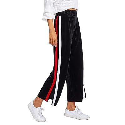 Verdusa Women's Velvet Palazzo High Waist Side Split Striped Wide Leg Pants