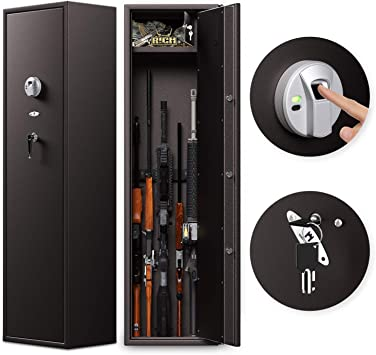 Cozy Castle Rifle Safe, Biometric Gun Safe for 6 Rifles and 8-Pistol, Quick Access Gun Cabinet with Double Unlock, Gun Safe for Home, Optional Mute Mode