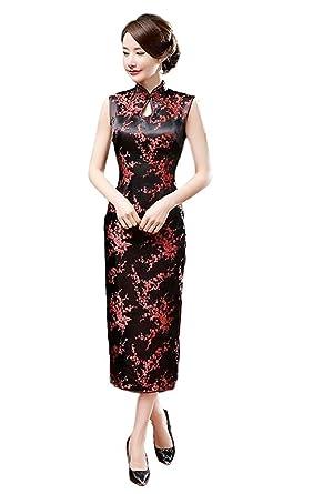Maritchi Women s Long Chinese Wedding Dress Cheongsam Qipao Retro Long  Flower Printing (10(ChineseXXL 6a66b02eca84
