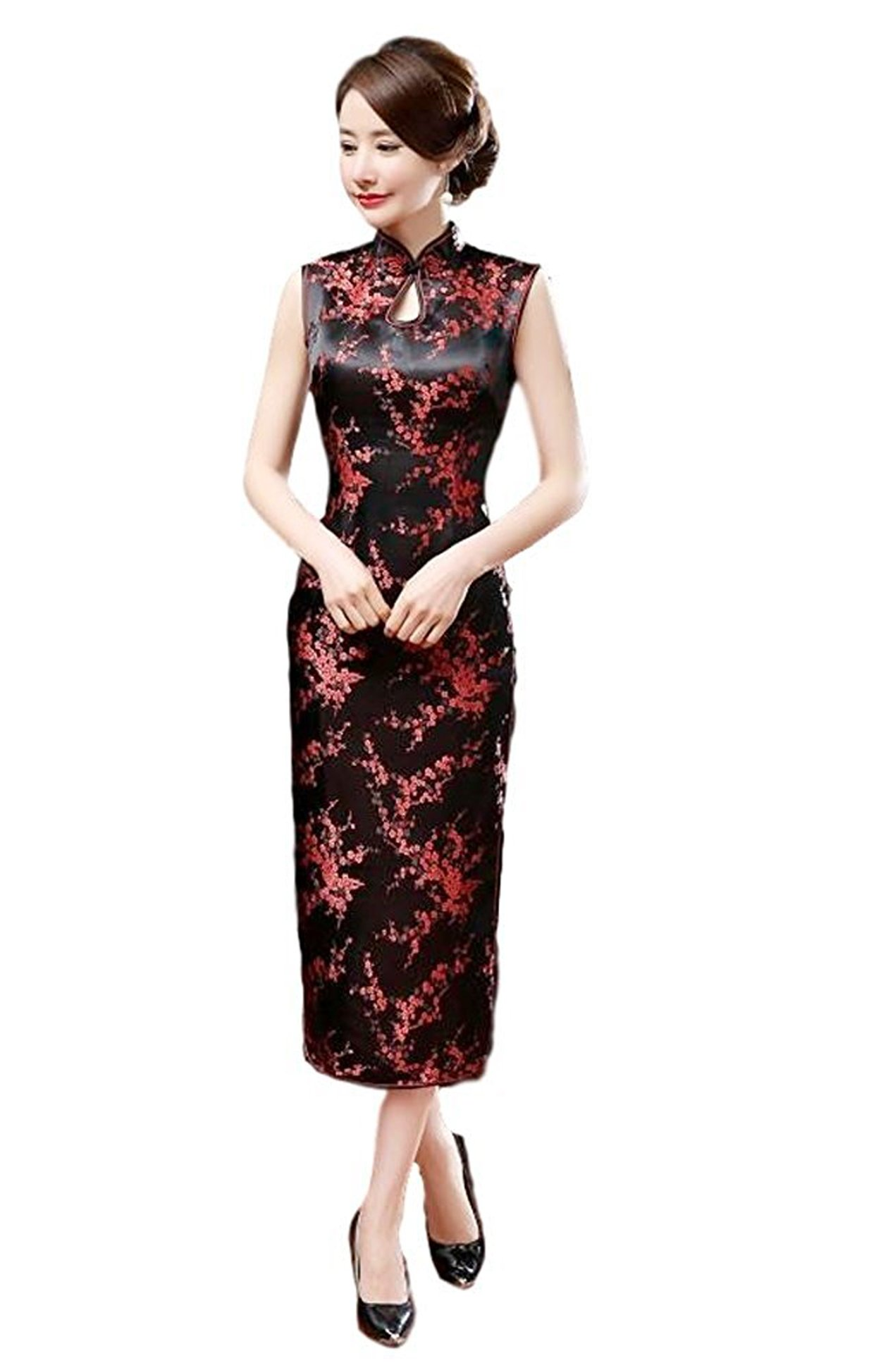 Maritchi Women's Long Chinese Wedding Dress Cheongsam Qipao Retro Long Flower Printing (12(ChineseXXXL), Black)
