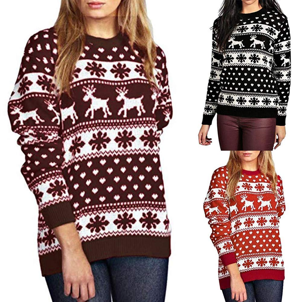 GIFC Fashion Womens Christmas Pullover Snow Patterns Floral Dot Print Tops Blouses Shirts