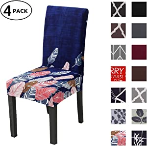 Dining Chair Cover Seat Protector Super Fit Slipcover Stretch Removable Washable Soft Spandex Fabric for Home Hotel Dining Room Ceremony Banquet Wedding Party Restaurant (Color 1, 4 Per Set)