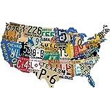 Amazon Com Usa License Plate Map Print Wood Frame Wall