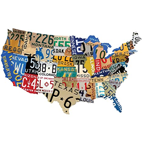 Amazoncom Past Time Signs Ps197 License Plate Usa Map Die Cut - Us-map-with-license-plates