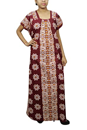 89c7de80d64c Indiatrendzs Womens Cotton Nightgown Loose Fit Printed Maroon Nightdress  1X  Amazon.in  Clothing   Accessories