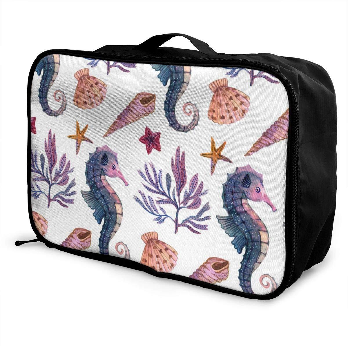 Starfish Shell Hippocampi Travel Luggage Storage Bag Duffel Bag Handle Makeup Bag Fashion Lightweight Large Capacity Portable Luggage Bag