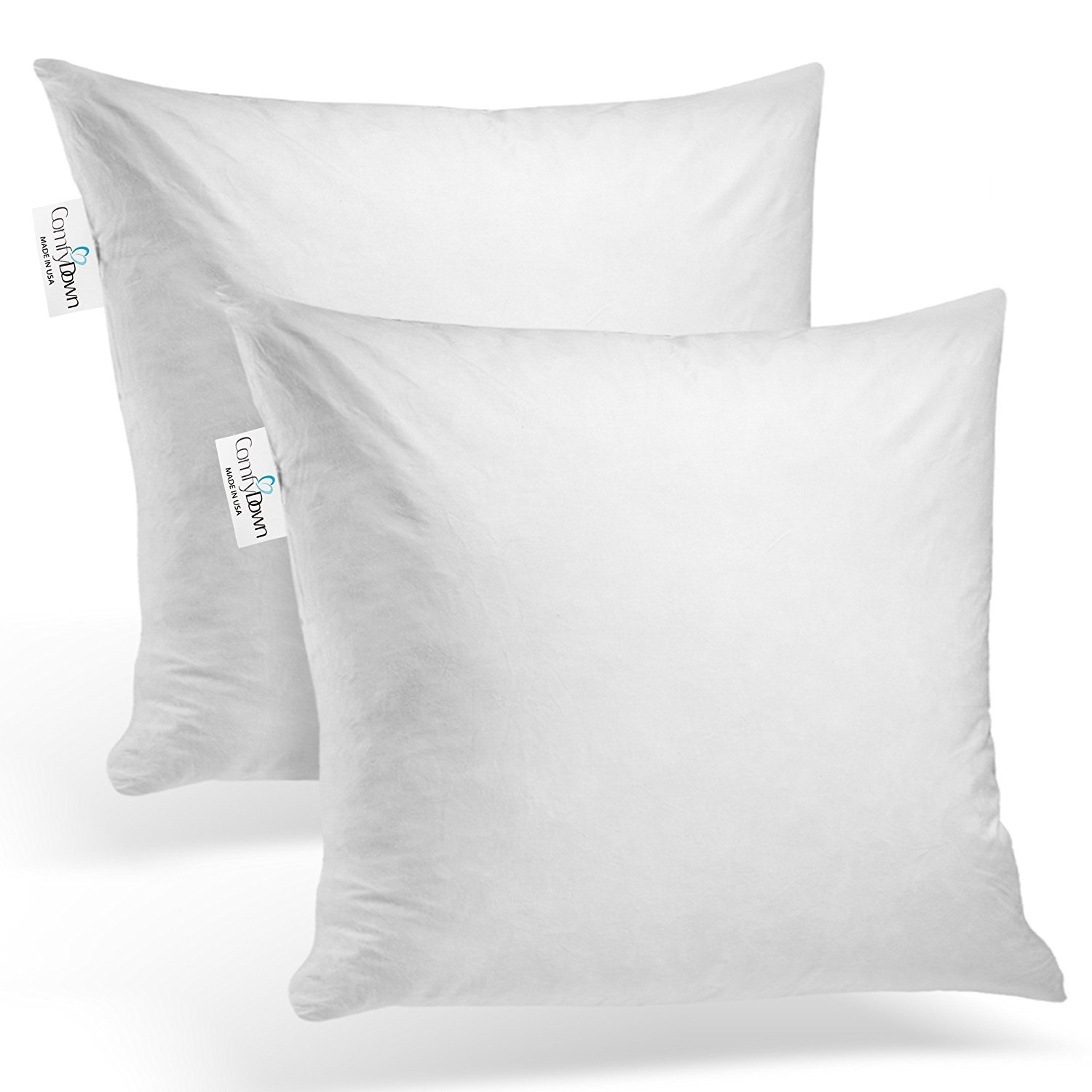 ComfyDown Set of Two, 95% Feather 5% Down, 22 X 22 Square Decorative Pillow Insert, Sham Stuffer - Made in USA