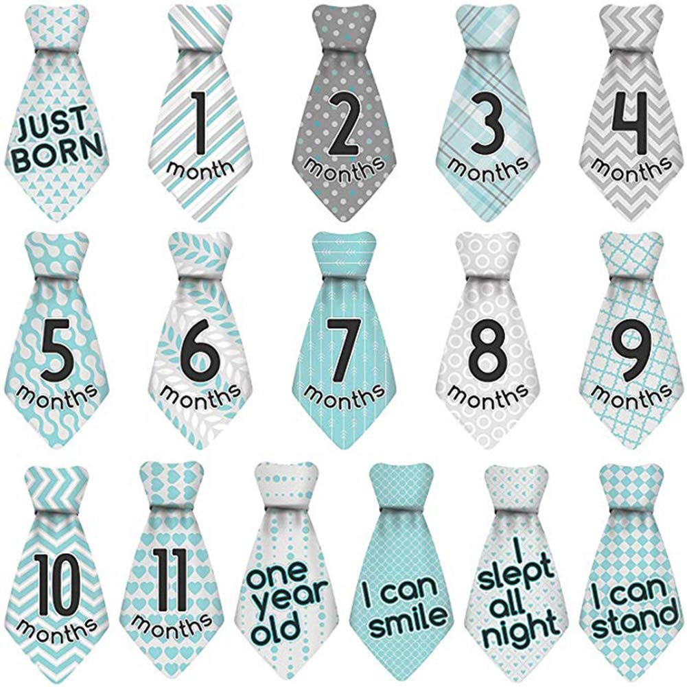 Baby Monthly Milestone Necktie Stickers Age Milestones for 12 Months Photography Prop 16Pcs/Set Naisidier