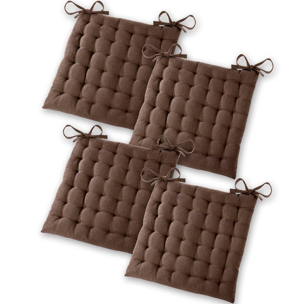 Gräfenstayn® set di 4 cuscini per sedia 40x40x5cm da interni ed esterno in 100% cotone - colori diversi - imbottitura spessa cuscino trapuntato / cuscino da pavimento - certificato Öko-Tex Standard 100 (Beige) Torrex