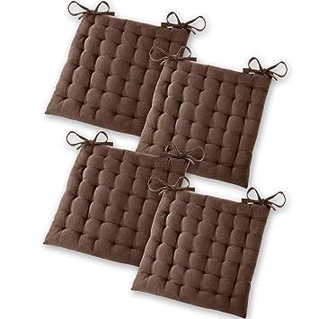 Gräfenstayn® Set de 4 Cojines, Cojines para Silla de 40 x 40 x 5 cm para Interior y Exterior de 100% algodón Acolchado Grueso/cojín para el Suelo ...