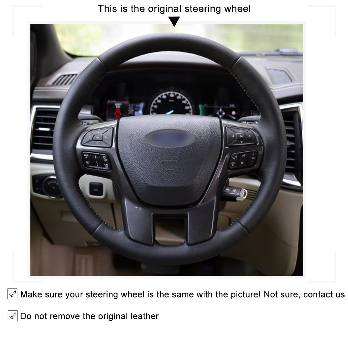 Amazon.com: MEWANT Customized Black Genuine Leather Car Steering Wheel Cover for Ford Ranger Everest 2016: Automotive
