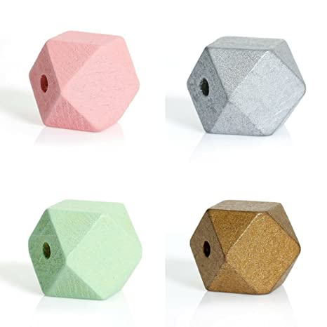 4 Stk Holzperlen Polygone - 4 Farben 2 x 2 cm Geometrische Perlen