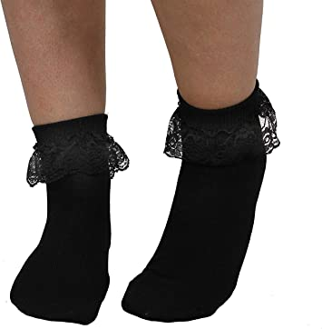 Ladies Women/'s Frilly Ankle Trainer Socks Cotton Lace Top Anklet Black White 4-7