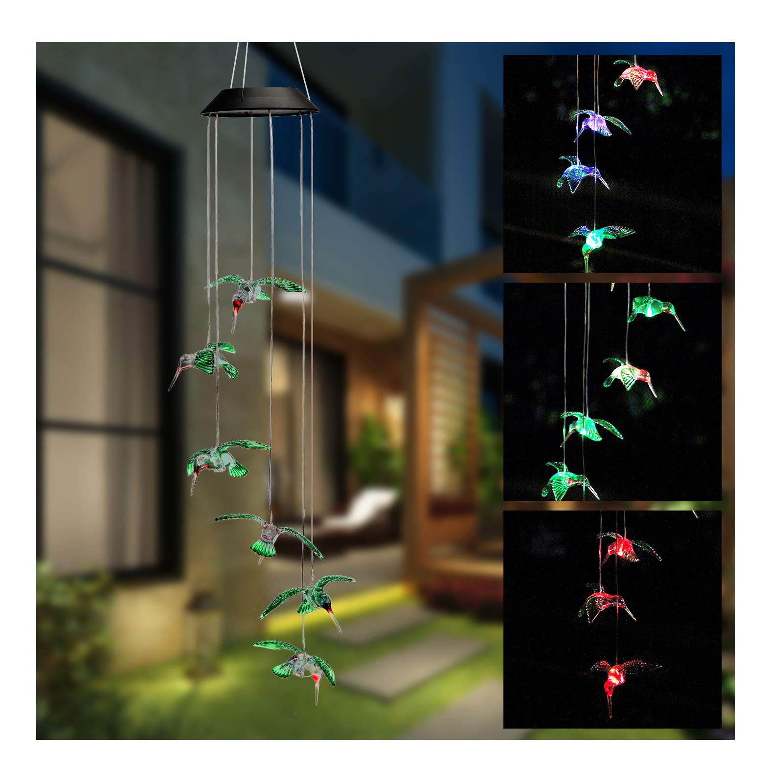 Isyunen Color-Changing Led Solar Mobiles Wind Chimes Outdoor - Waterproof Night Light Solar Powered Six Hummingbird Wind Chime for Home, Party,Christmas, Garden, Yard Decoration,Festival Decor
