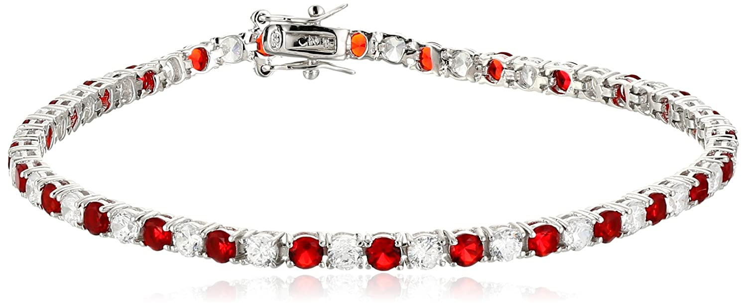 925 Sterling Silver Alternating AAA Cubic Zirconia Tennis Bracelet, 7.5 7.5 (5.9 cttw) Amazon Collection BR1300SPCZ7A