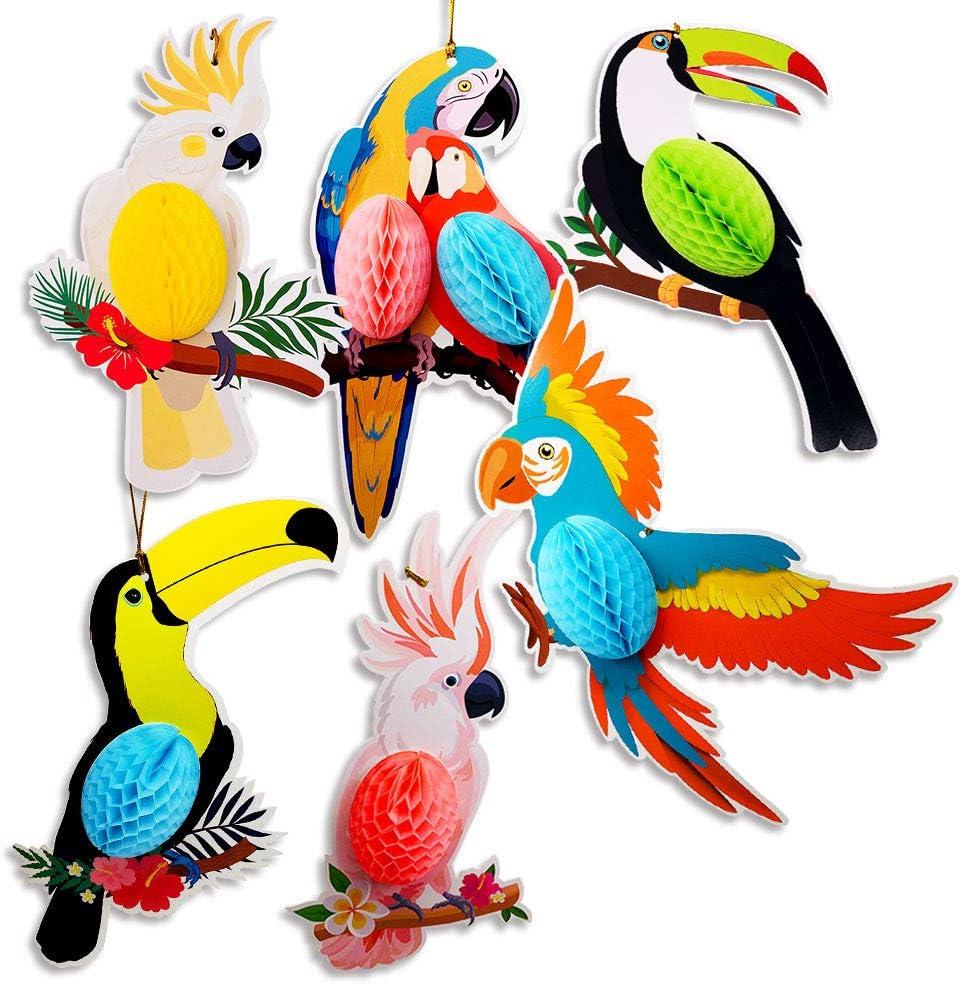 Tropical Hawaiian Toucan Parrot Honeycomb Hanging Decorations, Colorful Birds Summer Tiki Bar Luau Party Supplies, Hawaiian Birthday Decorations Home Classroom Hanging Décor(6 Pieces)