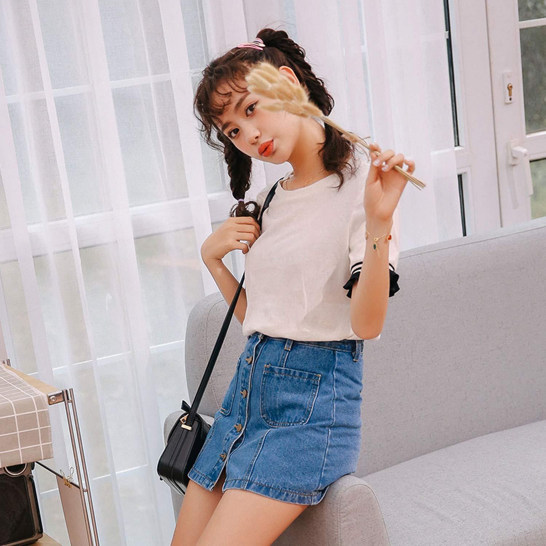 ihuoshang Denim Skirt High Waist A-Line Mini Skirts Women Summer Single Button Pockets Blue Jean Skirt Style Saia Jeans