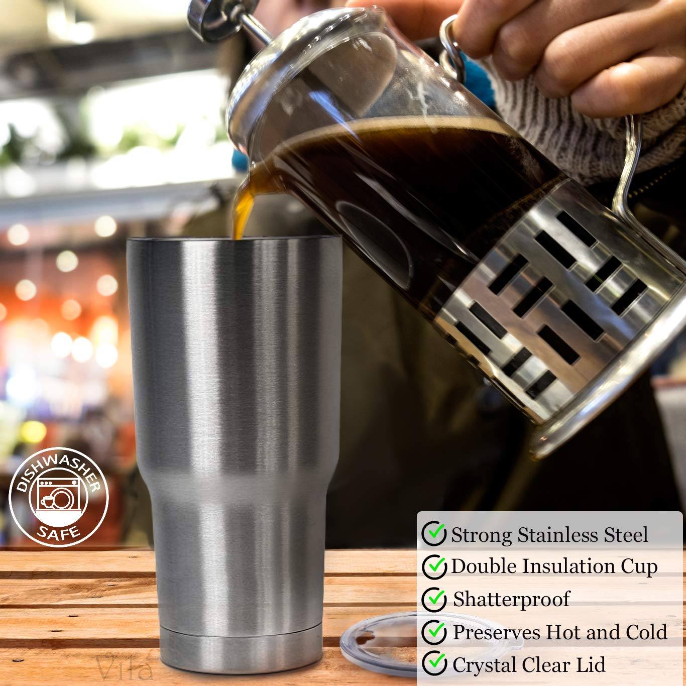 30oz Stainless Steel Travel Tumbler by Vila - BPA-free, double wall vacuum insulated - Tight transparent lid prevents spillage - Shatterproof, rustproof - Keeps Hot Drinks Hot and Cold Drinks Cold