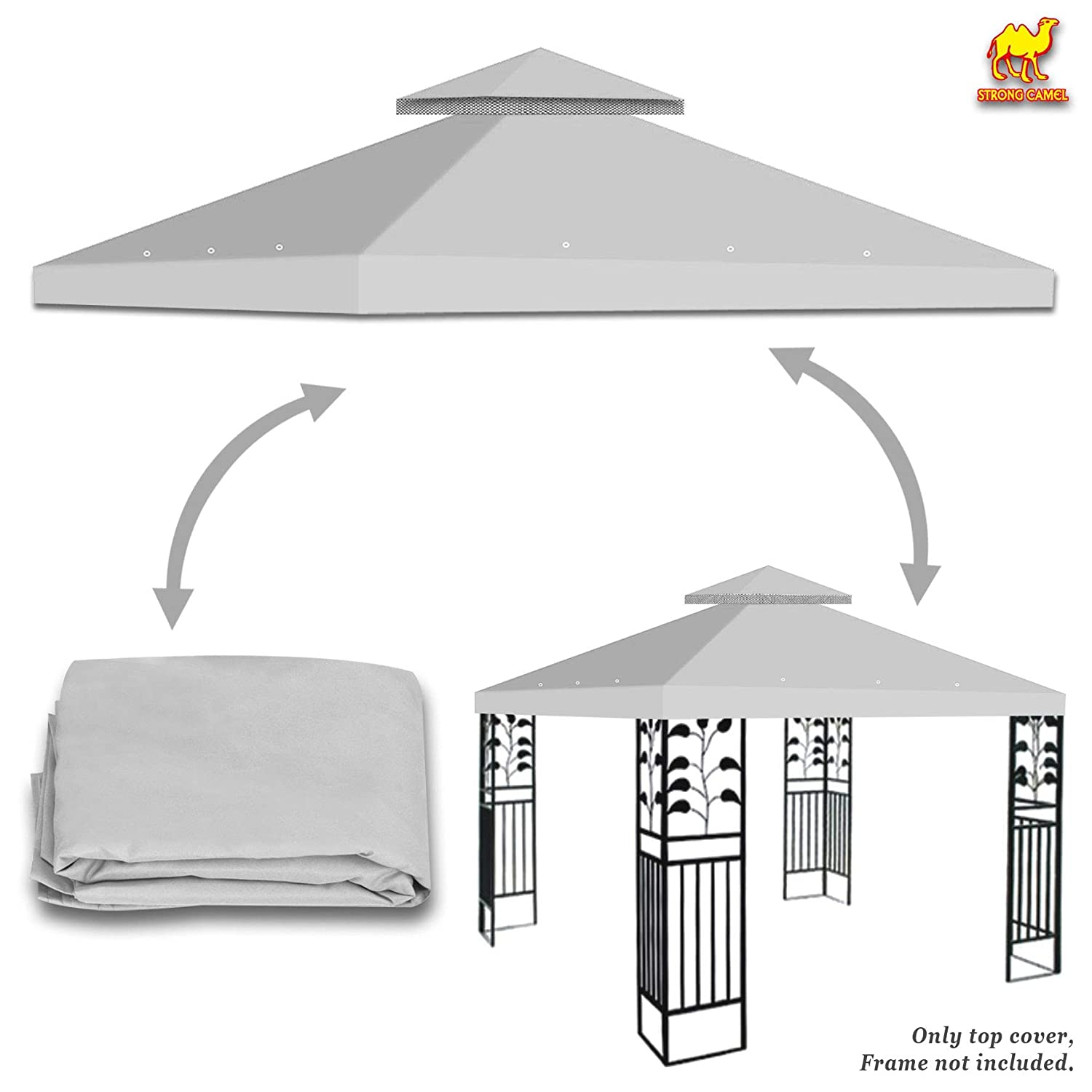 Strong Camel Dual Tier Gazebo Replacement 10' x 10' Canopy Top Cover Awning Roof Top Cover (Ecru)