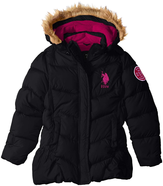 U.S Girls Bubble Jacket with Faux Fur Trim Hood Polo Assn