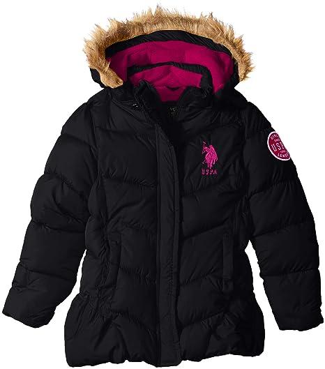 38596db21 Amazon.com  U.S. Polo Assn. Girls  Bubble Jacket with Faux Fur Trim ...