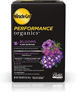Miracle-Gro Performance Organics Blooms Plant Nutrition - Plant Food with Organic Ingredients Feeds Instantly, for Flowering Plants, Apply Every 7 Days for a Beautiful Garden, 1 lb.