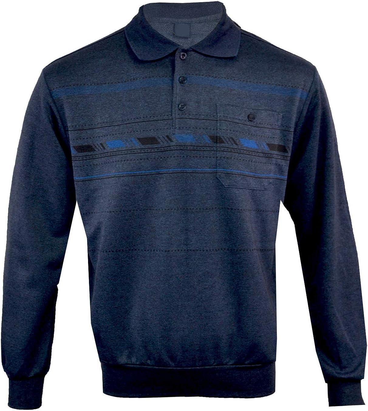 XXXL C//U Mens Long Sleeve Polo Button Down Collared Sweatshirt Top M