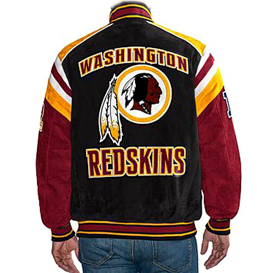 watch 0321c 688a5 Washington Redskins NFL Suede Leather Jacket