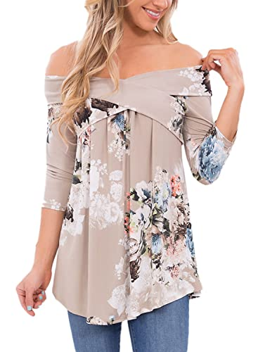Dokotoo Womens Casual Off Shoulder Drape Floral Print 3 4 Sleeve Blouses Tops (S-XXL)