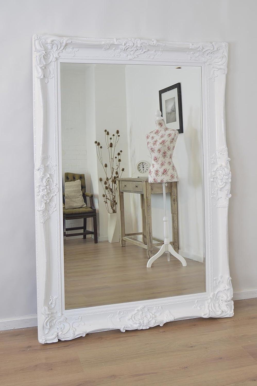 Large White Ornate Antique Design Huge Wall Mirror 6ft X 4ft 183cm