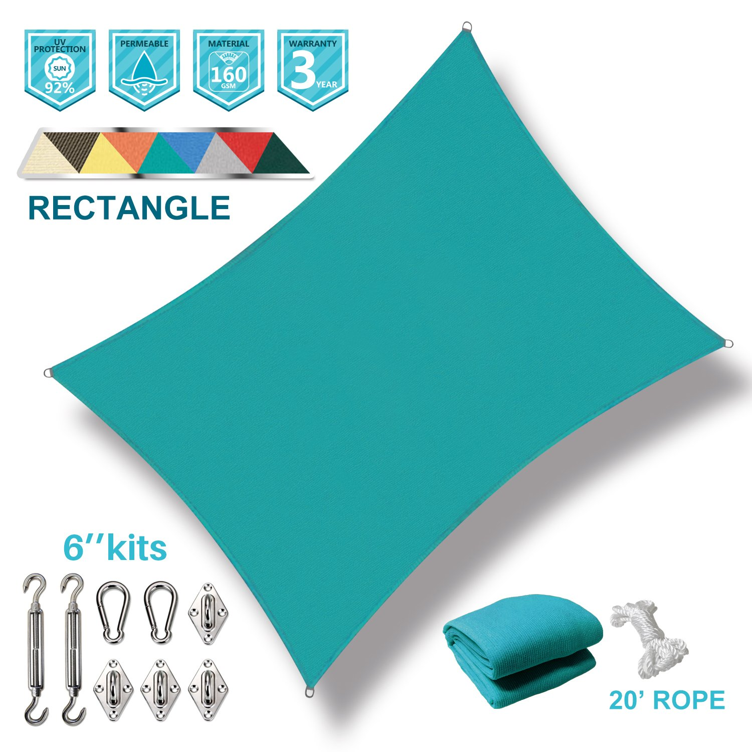 Coarbor 12' x 16' Rectangle Turquoise Green UV Block Sun Shade Sail with Stainless Steel Hardware Kit Perfect for Patio Outdoor Garden