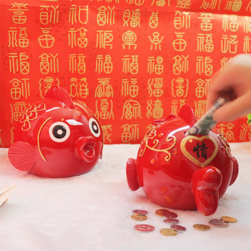 Kiss fish coin piggy bank couple resin over sized piggy bank creative cute new year gifts new home decoration piggy bank-A 29x36x24cm(11x14x9inch)
