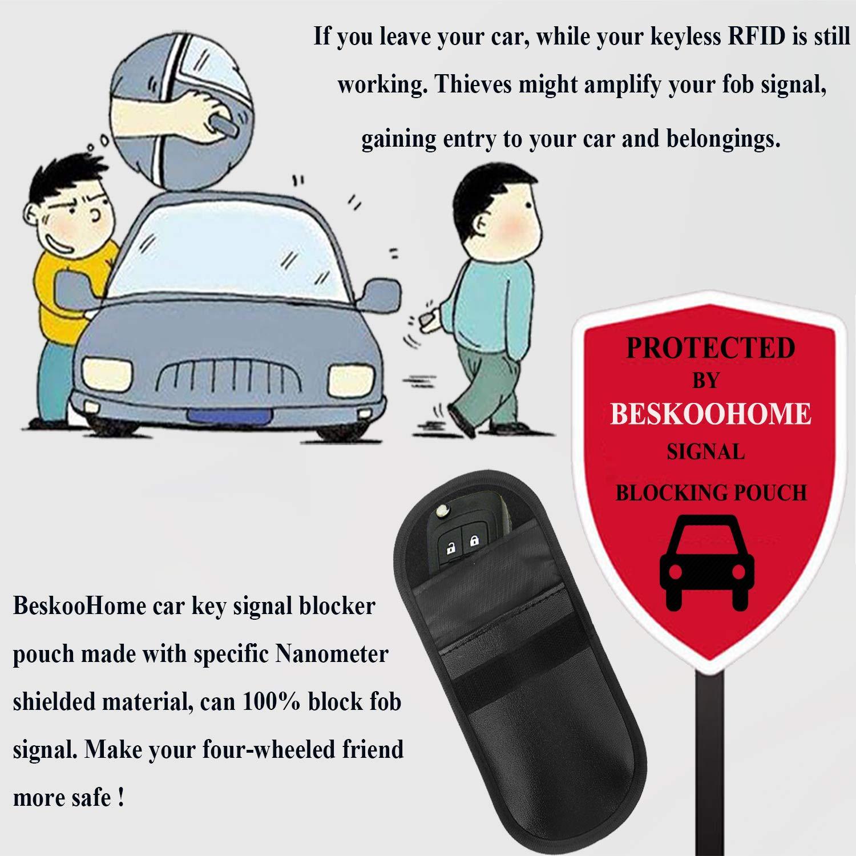 Beskoohome Bloquent RFID//WiFi//GSM//LTE//NFC/ /Lot de 2 housses pour fob de voiture Bloqueuses d/'ondes et anti vol