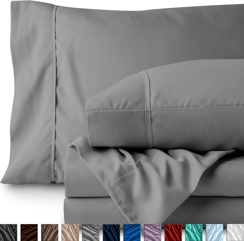 Bare Home Split King Sheet Set - 1800 Ultra-Soft Microfiber Bed Sheets - Double Brushed Breathable Bedding - Hypoallergenic – Wrinkle Resistant - Deep Pocket (Split King, Light Grey)