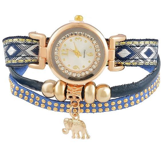Mujer mjartoria brillantes boho Reloj de pulsera elegante piel pulsera bisutería mujer reloj analógico de cuarzo