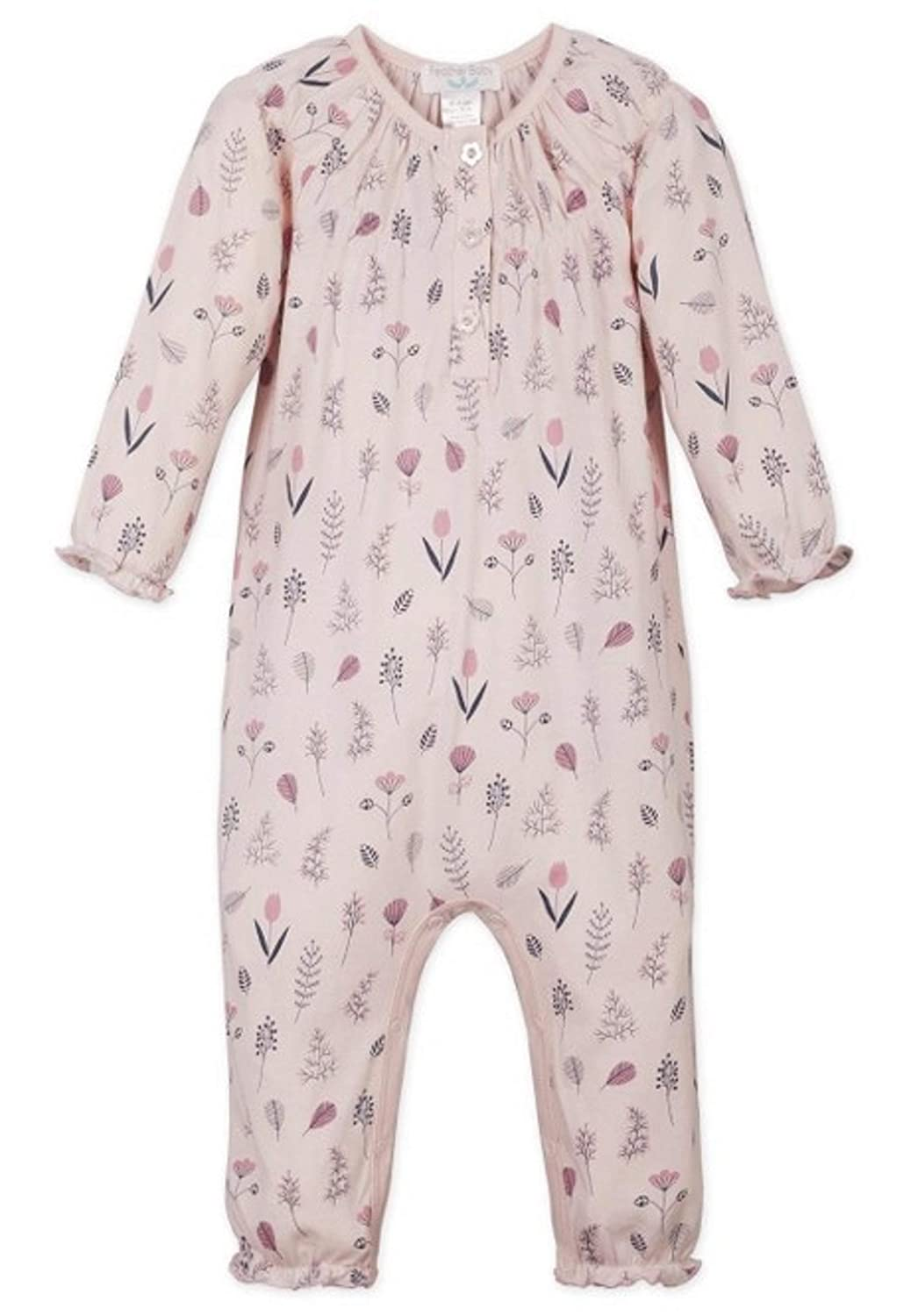 Feather Baby Girls Clothes Pima Cotton Long Sleeve Ruched Jumpsuit One Piece Romper 556J