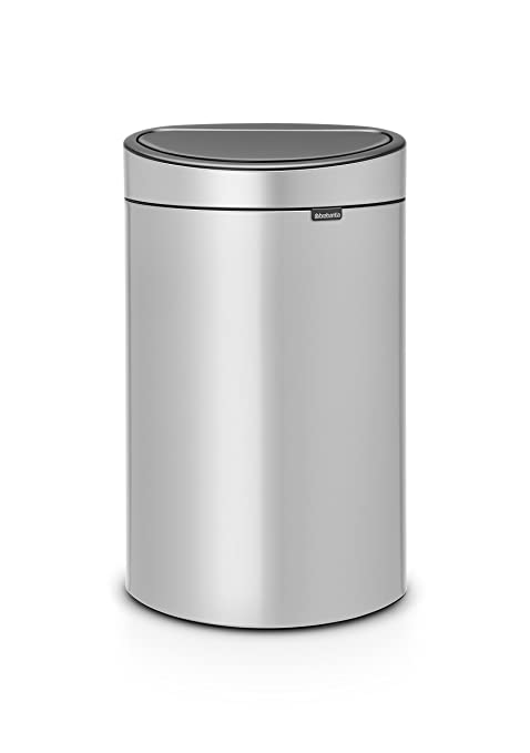 Brabantia Touch Bin Flat Top 30 Liter Platinum.Brabantia Touch Bin New 40 Litre Metallic Grey