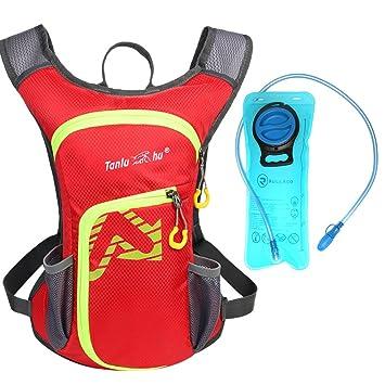 Rullaco - Mochila de hidratación con capacidad para 2 litros de agua, impermeable, para correr, ciclismo, escalada, unisex, rojo: Amazon.es: Deportes y aire ...
