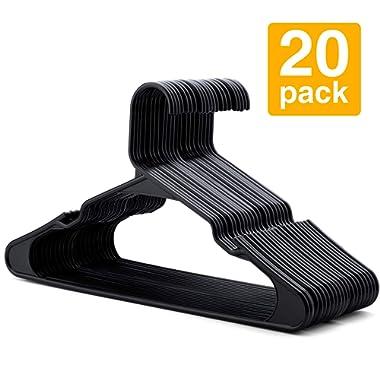 HOUSE DAY Plastic Hangers- 20 Pack-Plastic Clothes Hangers for Skirt Suit Coat, Standard Tubular Plastic Hangers for Clothes (Black)