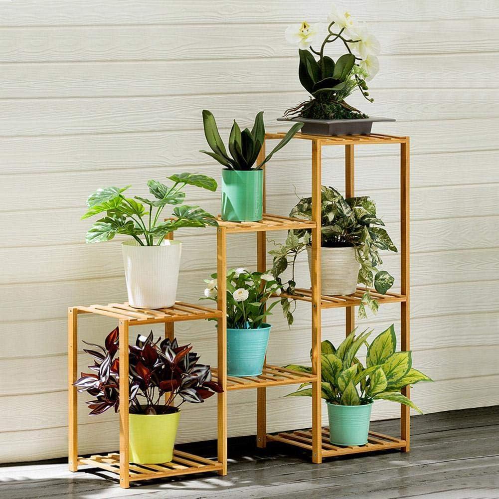 Zouminyy Estante de plantas Estante de flores 2+2+3 Layer Soporte de soporte de plantas de m/últiples capas Estante de plantas en macetas Estante de flores de interior para el hogar