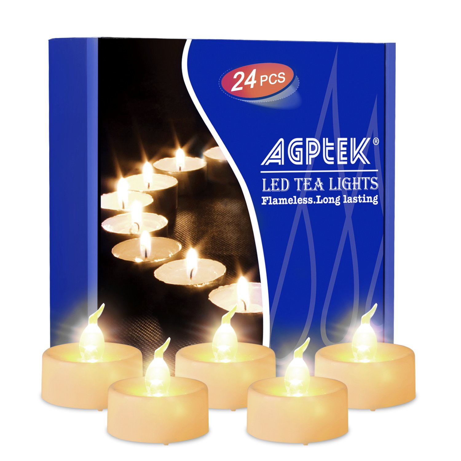 AGPtEK Timer Flickering LED Tealights Candles Battery-Operated Flameless Tealights for Wedding Holiday Party Home Decoration 24pcs(Warm White)
