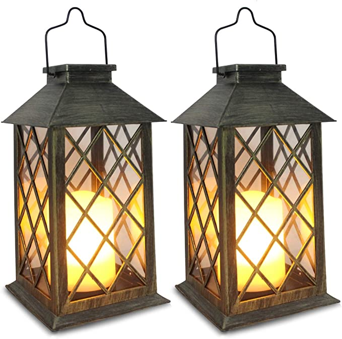 Amazon.com: Solar Lantern, Outdoor Garden Hanging Lanterns,Set of 2,Waterproof LED Flickering Flameless Candle Mission Lights for Table,Outdoor,Party Decorative: Home Improvement